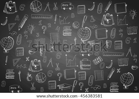 School sketch with hand drawn doodles, simple pattern on black chalkboard background. Vector illustration.