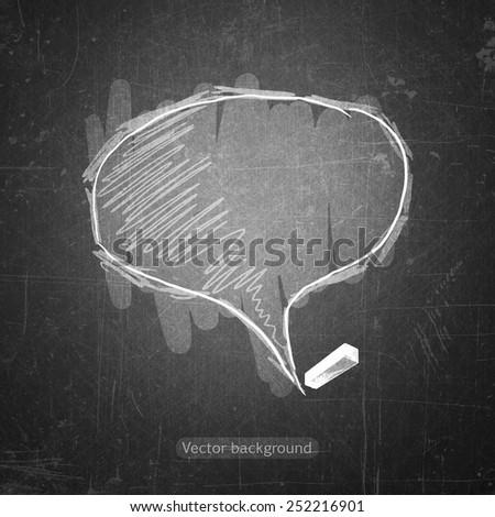 school sketches bubble on blackboard, vector background - stock vector