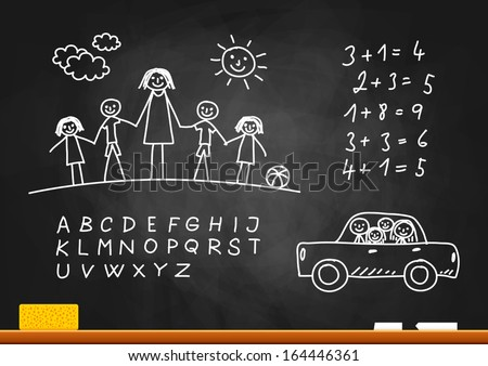 School sketches on blackboard - stock vector