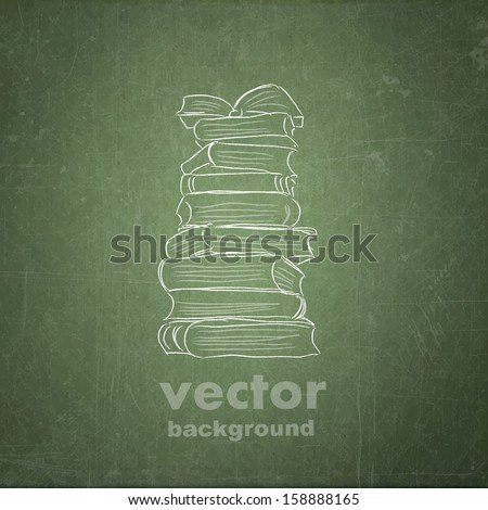 school sketches on blackboard, book vector background - stock vector