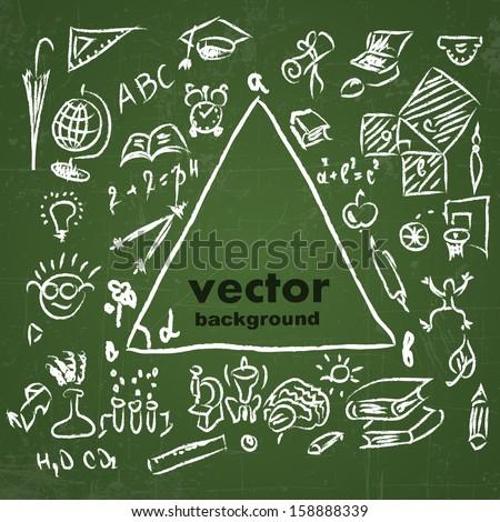 school sketches on blackboard, vector background - stock vector