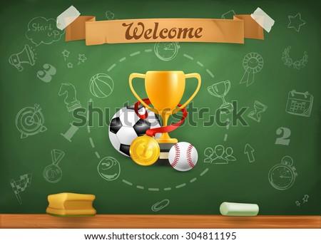 School sports, infographics vector background - stock vector