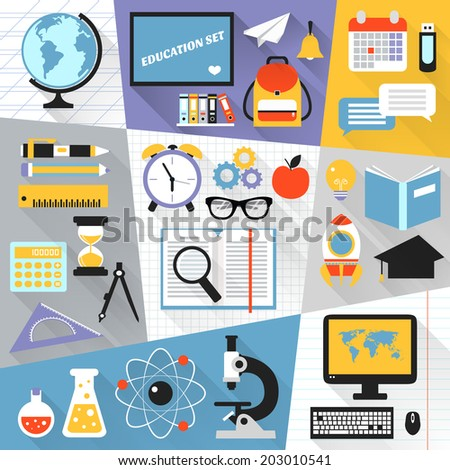 School stationery education science e-learning flat set isolated vector illustration - stock vector