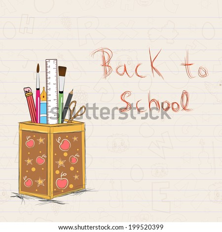 School stationery in a pencil stand on notebook paper with stylish text Back to School.  - stock vector