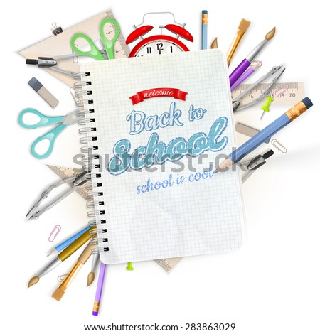 School stationery isolated over white with copyspace. EPS 10 vector file included - stock vector