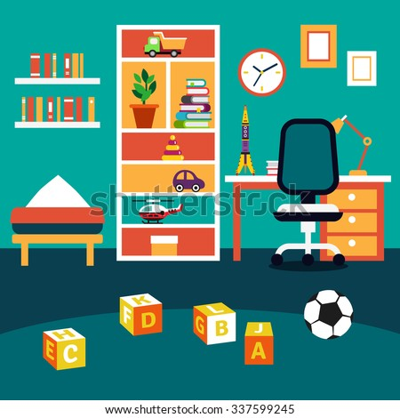 School student boy kid room interior. Bookshelf, studying desk with chair, bed and some toys on the floor. Flat style vector illustration. - stock vector