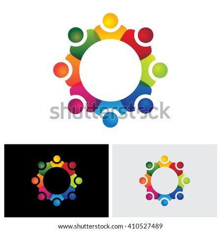 school students showing companionship and friendship vector logo icon. The graphic can also represent employees unity, workers union, executives meeting, friendship, team work & team spirit - stock vector