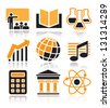 School subjects icons set over white background - stock vector
