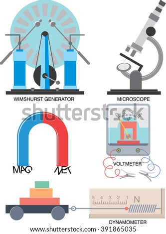 School supplies for study at physics lessons. Electric generator, microscope, magnet, voltmeter, dynamometer isolated on white. Education kit. Vector illustration - stock vector