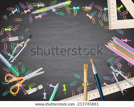School supplies on blackboard background. EPS 10 vector file included