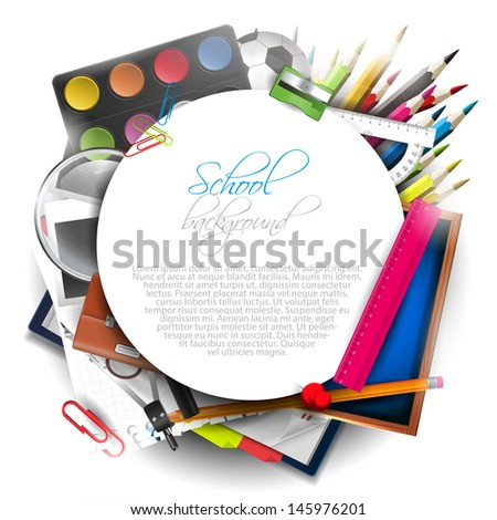 School supplies on white background with copyspace - stock vector