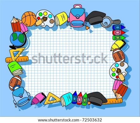 school supplies, school children, the frame - stock vector