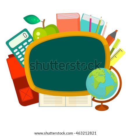 School supplies vector clip art objects. Blackboard banner template with education objects - backpack, globe, books and stationery items.