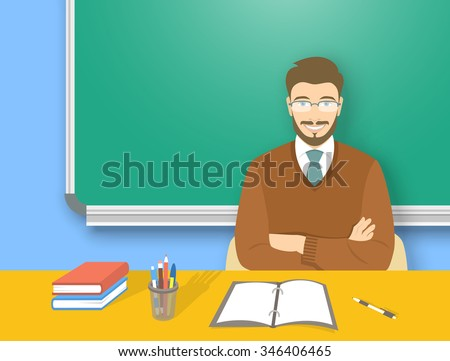School teacher at desk flat education vector illustration. Young attractive smiling man sitting at table with books, pens and pencils in front of blackboard. Studying, learning, training concept
