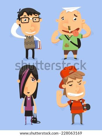School Teen Adolescents Characters vector illustration. With nerd kid, dumb kid, cool kid. Vector illustration. - stock vector