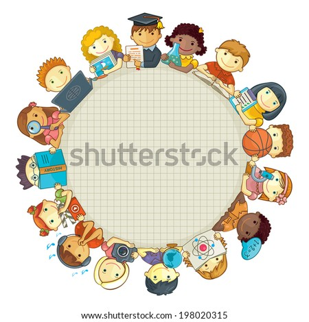 School Template With Children. Frame For Text - stock vector