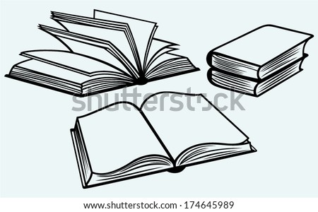 School textbooks isolated on blue background - stock vector