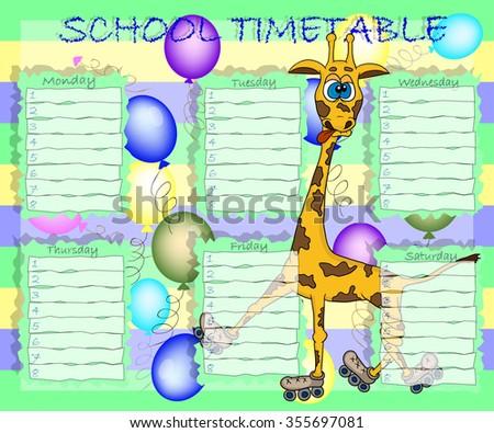 School timetable - stock vector
