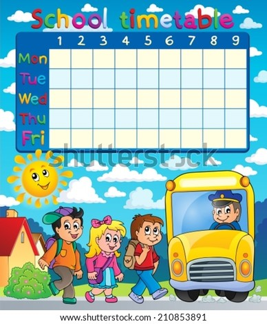School timetable composition 6 - eps10 vector illustration. - stock vector
