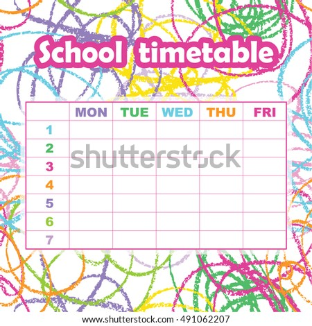 School Timetable Template Students Pupils Abstract Stock Vector ...