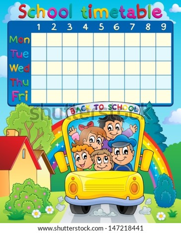 School timetable topic image 3 - eps10 vector illustration. - stock vector
