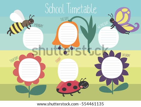 School Timetable Template Poster Note Book Vector 546720787 – School Time Table Designs