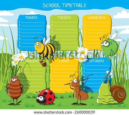 School timetable with funny Insects in the meadow - stock vector