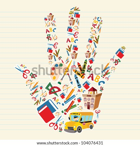 School tools and Supplies in hand shape background.  Vector file layered for easy manipulation and custom coloring. - stock vector