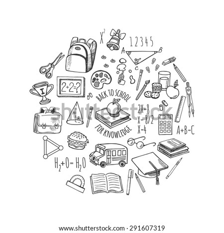 School tools sketch icons isolation in a circle vector design illustration. Background School. - stock vector