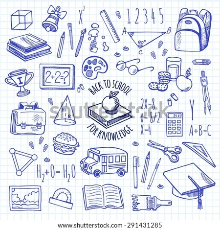 School tools sketch icons on a plaid background isolation vector set. Background School. - stock vector