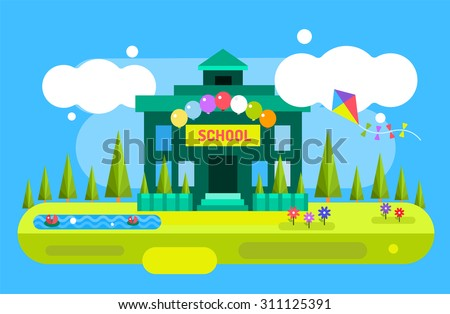 School vector background. Cartoon school building. School illustration. School kids uniform, school garden, school playground. Opened school, school view landscape. City building, Building vector - stock vector