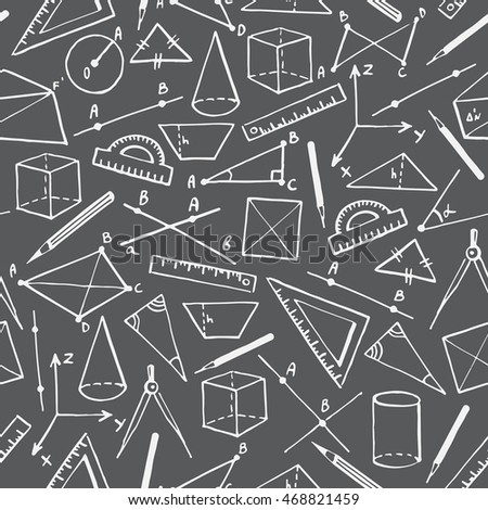School vector seamless pattern. Doodle style monochrome background. Chalk drawn on chalkboard geometry objects and figures, cubes, cylinders, triangles, crossing lines, pencils, compasses, rulers.