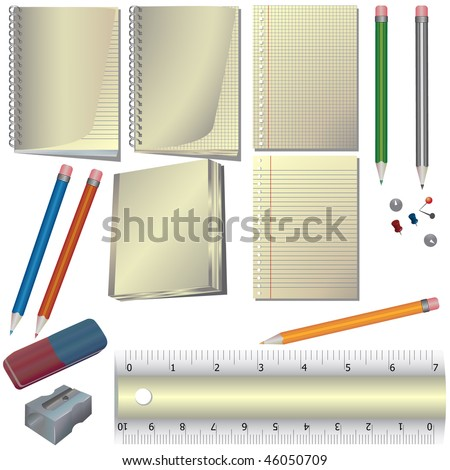 School vector set isolated on white - stock vector