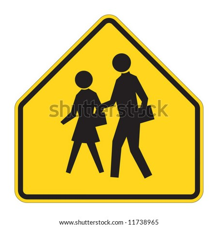 School warning sign on white