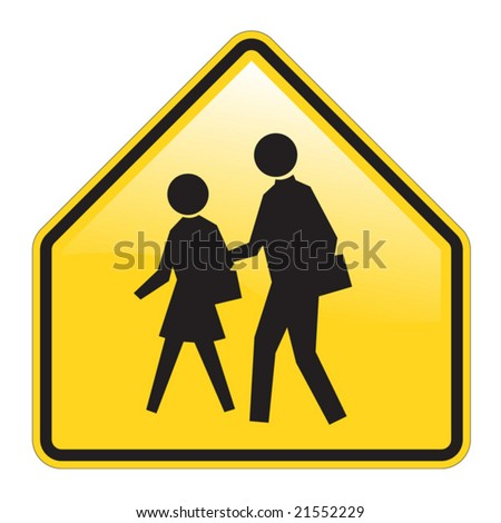 School Warning Sign Vector with glossy effect