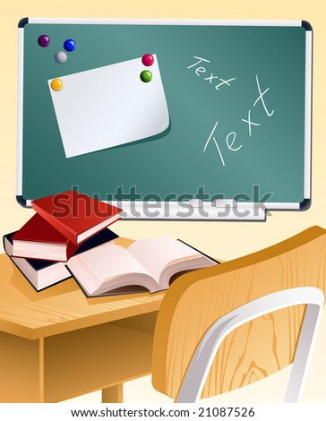 School wood desk and books, vector illusration, EPS file included - stock vector