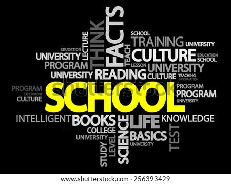 School words cloud concept - stock vector