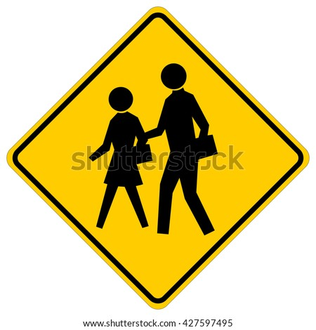 School - yellow square warning sign with black silhouettes , vector illustration - stock vector