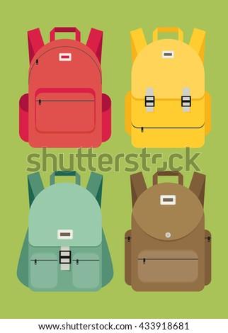 Schoolbag flat illustration. Bag for school. - stock vector