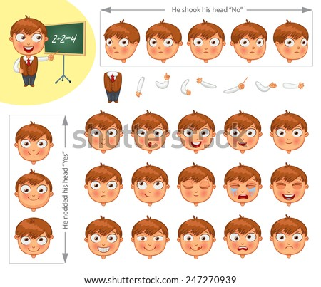 Schoolboy. Parts of body template for design work and animation. Face and body elements. Funny cartoon character. He nodded his head yes. He shook his head no. Vector illustration. Set - stock vector