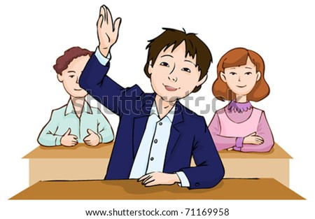 schoolboy raising hand to answer question on white background - stock vector