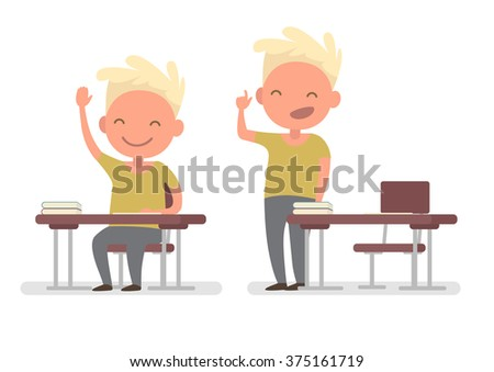 Schoolboy raising his hand to answer the teacher and answers the question. Vector illustration of a flat design - stock vector
