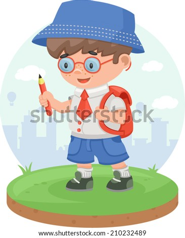 schoolboy school boy kid child pupil knowledge education pencil - stock vector