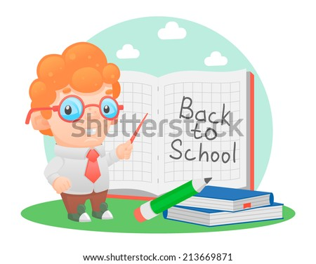 schoolboy school pupil education school teacher - stock vector