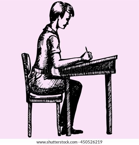 schoolboy sitting at a school desk doodle style sketch illustration hand drawn vector  - stock vector