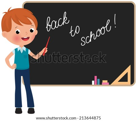 Schoolboy standing at the blackboard in full growth/Schoolboy standing at the blackboard/Boy in school uniform standing at the blackboard - stock vector