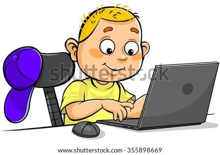 Schoolboy using Laptop - stock vector