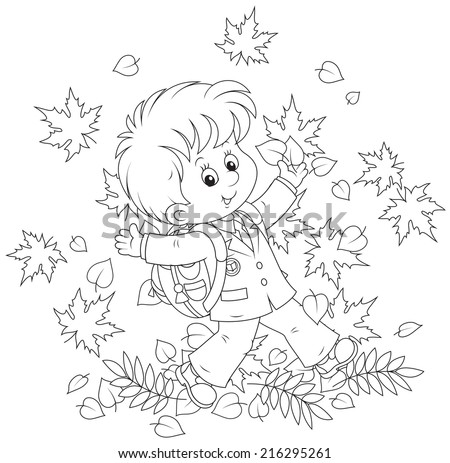 Schoolboy with autumn leaves - stock vector