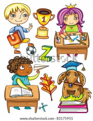 schoolchildren. Isolated on white background. Blond boy with book and soccer ball,  cute Hispanic girl sitting and drawing,  African boy  playing paper plane, very smart dog sitting on books - stock vector