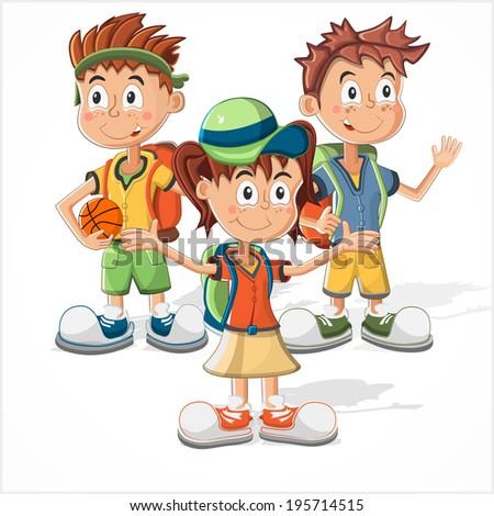 Schoolchildren. school boys and school girl - stock vector